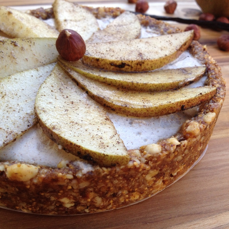 Vanilla Pear Tart with Hazelnut Cream